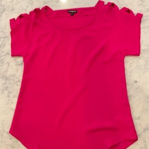 Hot pink top with sleeve detail